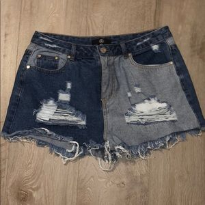Two toned jean shorts distressed denim